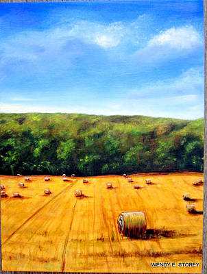 Haybale Painting - Haybales by Wendy Storey
