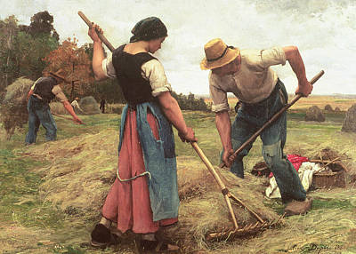 Man And Woman Painting - Haymaking by Julien Dupre