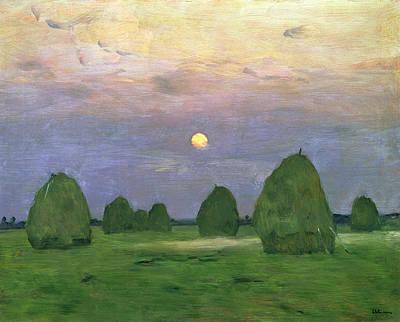 Bundle Painting - Hayricks At Dusk by Isaak Ilyich Levitan