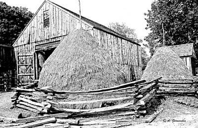 Haystacks And Barn Sturbridge Village Massachusetts Print by A Gurmankin