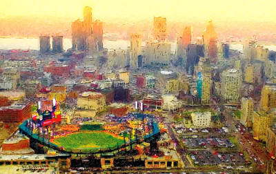 Baseball Parks Painting - Haze Over Comerica by John Farr