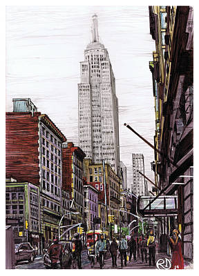 Empire State Building Drawing - Hazy Day In The City by Robin DaSilva