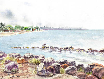 Hazy Morning At Crab Cove In Alameda California Print by Irina Sztukowski