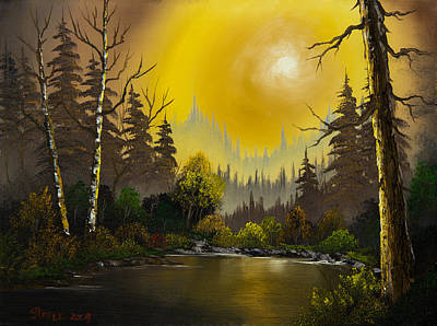 Sawtooth Mountain Art Painting - Sunset Glow by C Steele