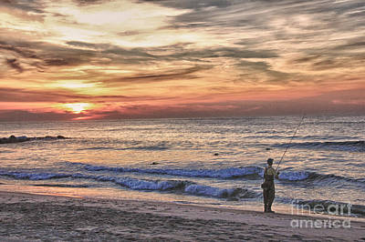 Buy Sell Photograph - Hdr Cloudy Sunrise Fishing Beach Ocean Sea Photo Picture Photography Gallery Sale Buy Sell Art  by Pictures HDR