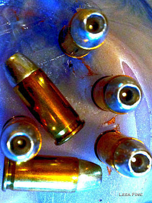 Cartridge Digital Art - Bullet Art - Hdr Photography Of .32 Caliber Hollow Point Bullets Art 4 by Lesa Fine