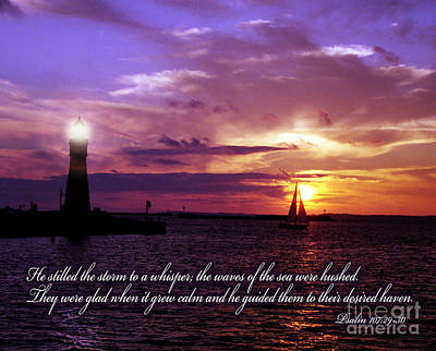 Bible Verse Photograph - He Calms The Storm by Tom Brickhouse