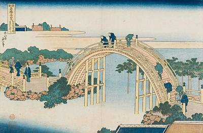 Japanese Painting - The Drum Bridge At Kameido Tenjin Shrine by Katsushika Hokusai