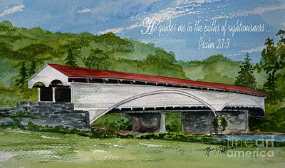 Covered Bridge Painting - He Guides  by Nancy Patterson