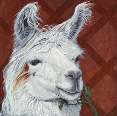 Llamas Painting - He Loves Me Not by Tracy Anderson