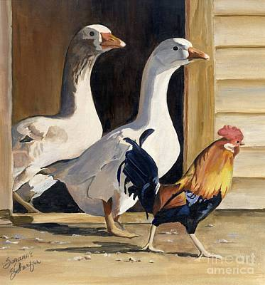 Barnyard Animal Painting - He Who Hesitates Loses by Suzanne Schaefer