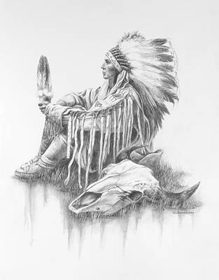 Indian Chief Drawing - He Who Seeks A Vision by Kim Lockman