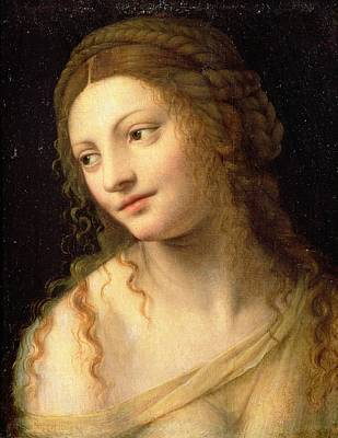 Head And Shoulders Of A Young Woman Print by Bernardino Luini
