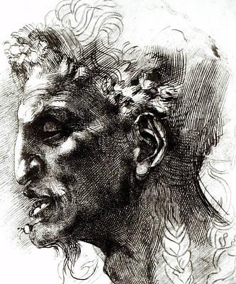 Head Of A Satyr  Print by Michelangelo
