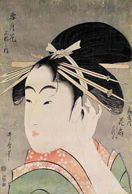 Femme Photograph - Head Of A Woman Colour Woodblock Print by Kitagawa Utamaro