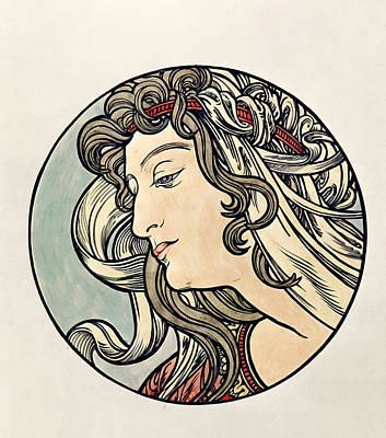 Head Of A Woman Wc On Paper Print by Alphonse Marie Mucha