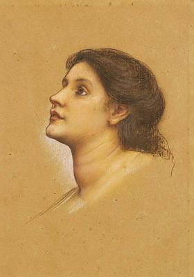Evelyn De Morgan Drawing - Head Of A Young Girl by Evelyn De Morgan