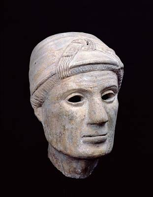 Femme Photograph - Head Of An Old Woman, From Cerveteri Clay by Etruscan