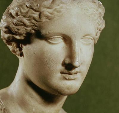 Head Of Artemis Marble Print by Greek