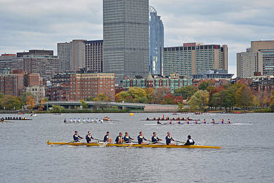 Row Boat Digital Art - Head Of The Charles. Charles Rowers by Toby McGuire