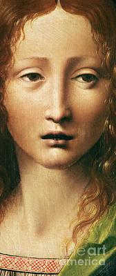 Jesus Art Painting - Head Of The Savior by Leonardo Da Vinci