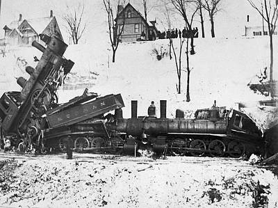1880 Photograph - Head On Train Wreck by Underwood Archives