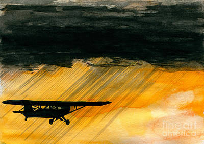 Aviator Painting - Heading For The Hole by R Kyllo