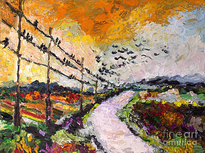 Impressionistic Landscape. Fall Painting - Heading South Autumn Begins by Ginette Callaway