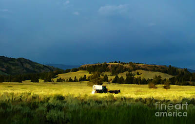 Wagon Train Photograph - Heading West by Edward Fielding