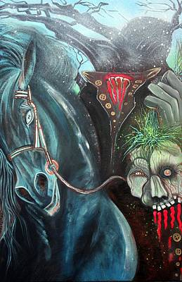 Horror Painting - Headless Horseman by Laura Barbosa