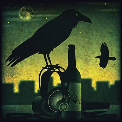 Listening Digital Art - Headphone Raven by Milton Thompson