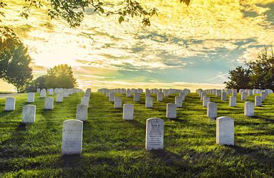 Headstones Basking In Sunlight Print by Bill Tiepelman