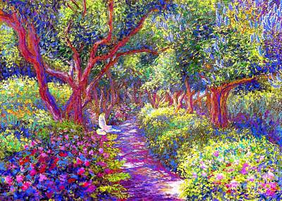 Mystical Painting -  Dove And Healing Garden by Jane Small