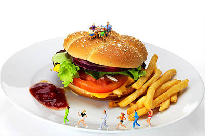 Jogging Digital Art - Healthy Life Versus Foodie Life Miniature Art by Paul Ge