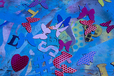 Messy Photograph - Heart And Butterflies by Garry Gay