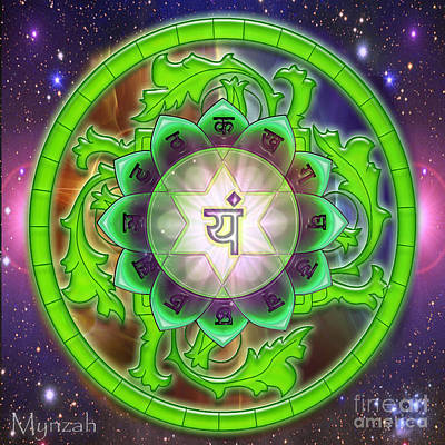 Anahata Digital Art - Heart Chakra Anahata  by Mynzah Osiris