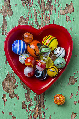 Heart Dish With Marbles Print by Garry Gay