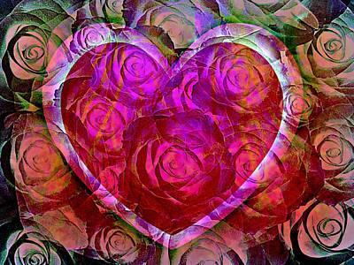 Card Photograph - Heart Felt Roses by Shirley Sirois