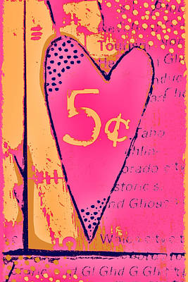 Heart Five Cents Print by Carol Leigh
