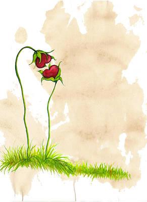 Heart Flowers Original by Carol Hartt