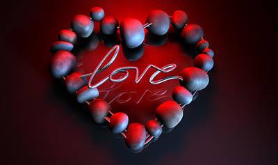Heart Love Stones Print by Allan Swart