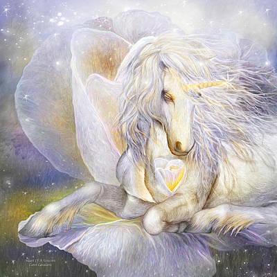 Heart Of A Unicorn Print by Carol Cavalaris