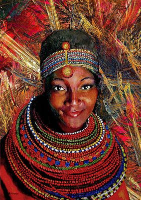 Female Mixed Media - Heart Of Africa by Michael Durst