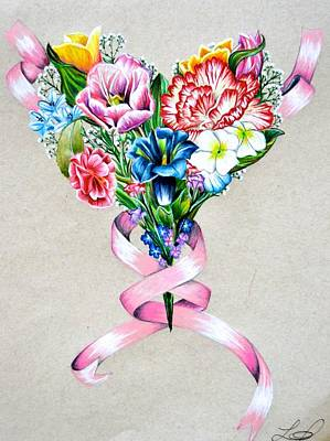 Heart Of Flowers Print by Lacey OLeary