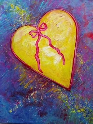 Multi Colored Painting - Heart Of Gold by Carol Suzanne Niebuhr