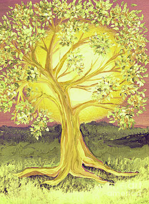 Heart Of Gold Tree By Jrr Print by First Star Art