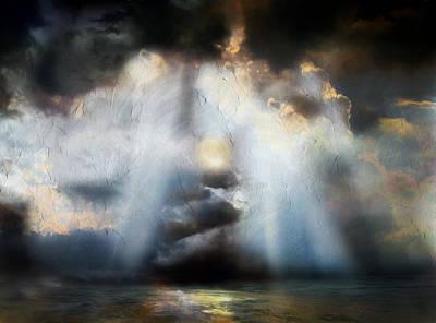 Abstract Seascape Mixed Media - Heart Of The Storm - Abstract Realism by Georgiana Romanovna