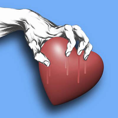 Couple Mixed Media - Heart Series Love Clawed Hearts by Tony Rubino