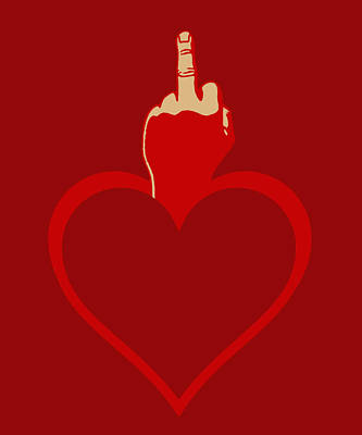 Flip Mixed Media - Heart Series Love The Finger by Tony Rubino