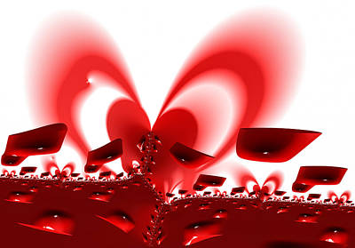 Heart Digital Art - Heart Shaped Sunset On Fractal Planet Valentine X by Matthias Hauser